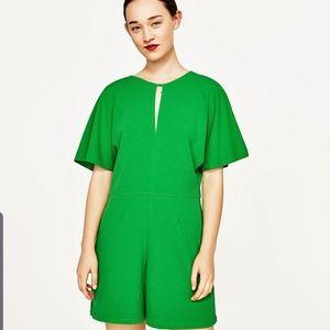 Zara green shorts romper size small